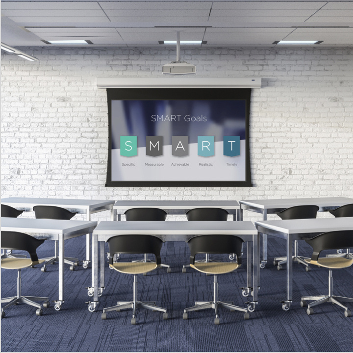 Desktop image of Da-Lite projection screen in a meeting room