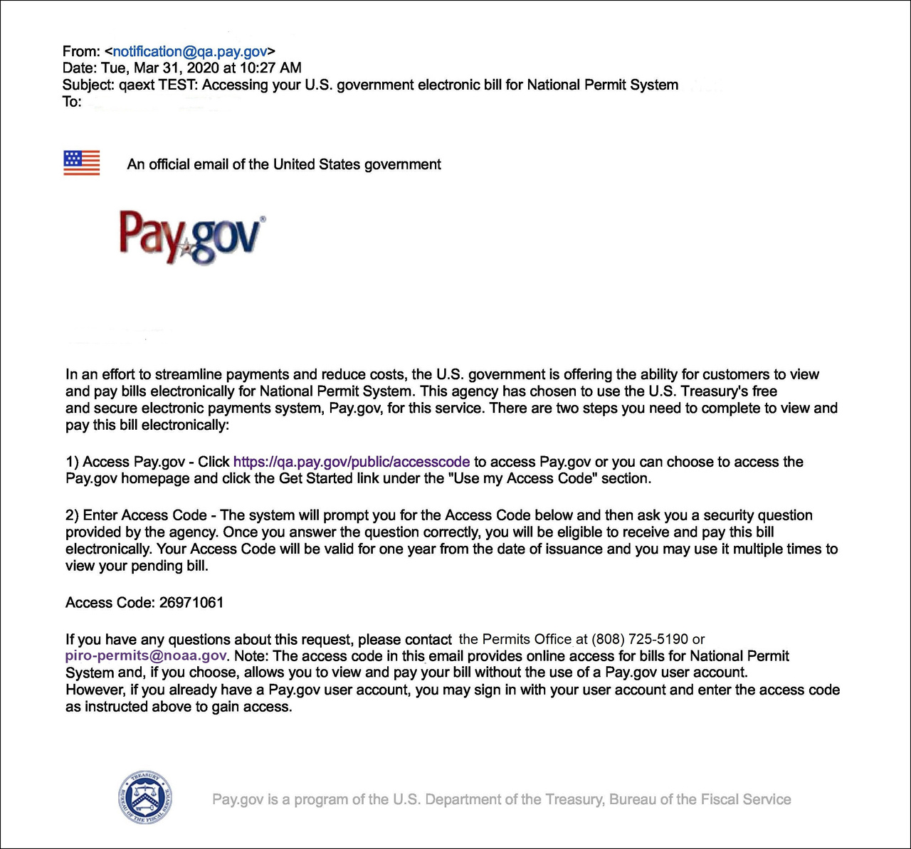 pay.gov website email notification.