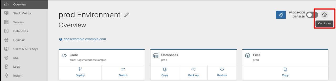 Click Configure or the gear icon to configure an environment