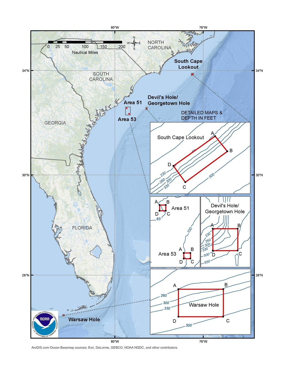 This is a map of the spawning SMZs for the snapper-grouper fishery in the South Atlantic Region.