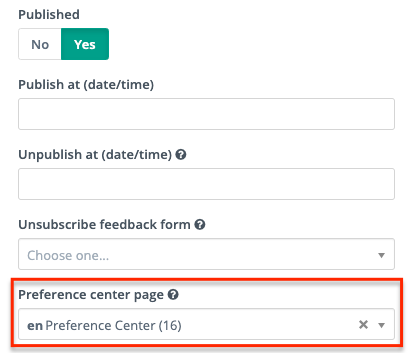 Email - Preference Center Selector