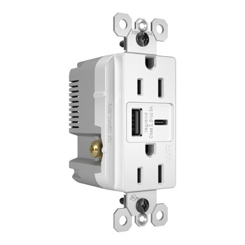 radiant Outdoor Ultra-Fast USB Charging Outlet, White