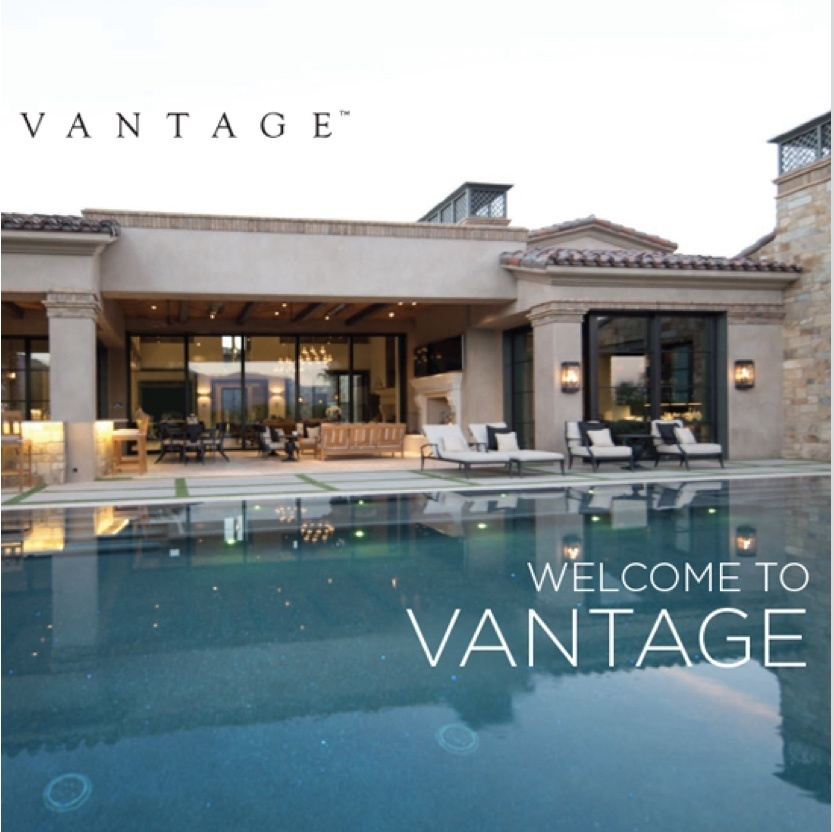 "Image of a luxury home with infinity pool and ""Welcome to Vantage"" text overlaid on the image"