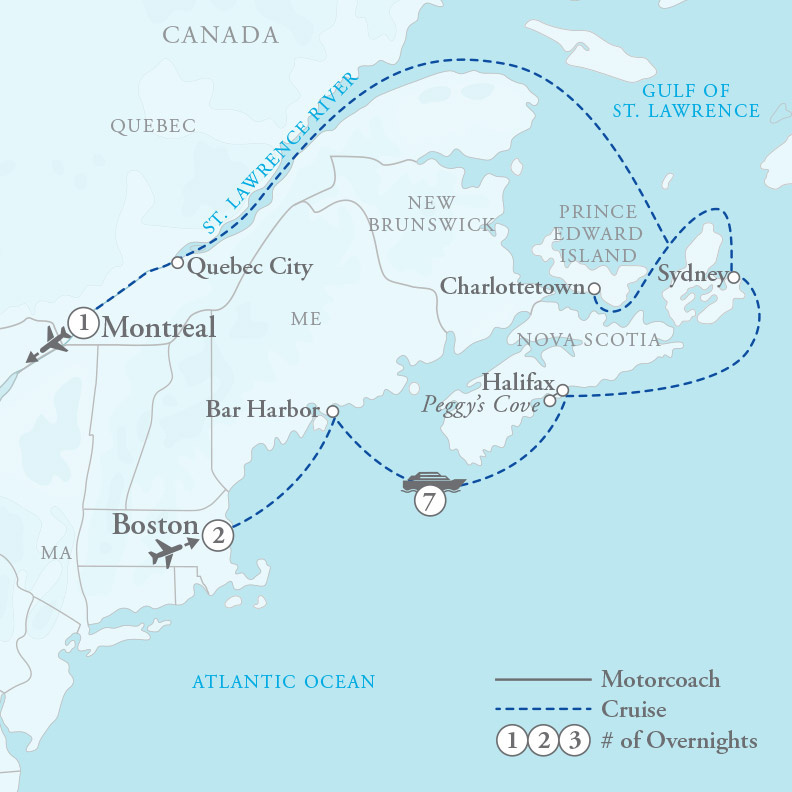 Tour Map for New England & Saint Lawrence Seaway Cruise