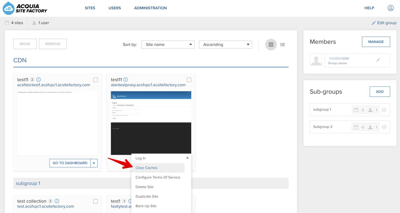 Site actions menu