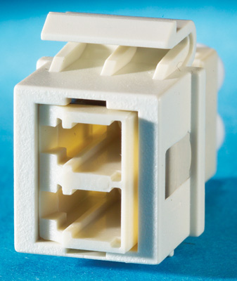 1-LC (2 fibers) fiber Keystone module, multimode, phosphor-bronze alignment sleeves, 180 degree exit, fog white, OR-KSLC