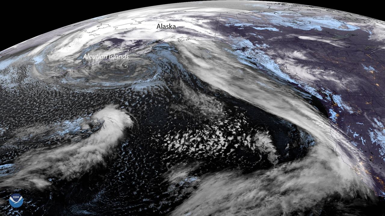 Satellite image of the Aleutian Low. Image: NOAA Environmental Visualization Laboratory