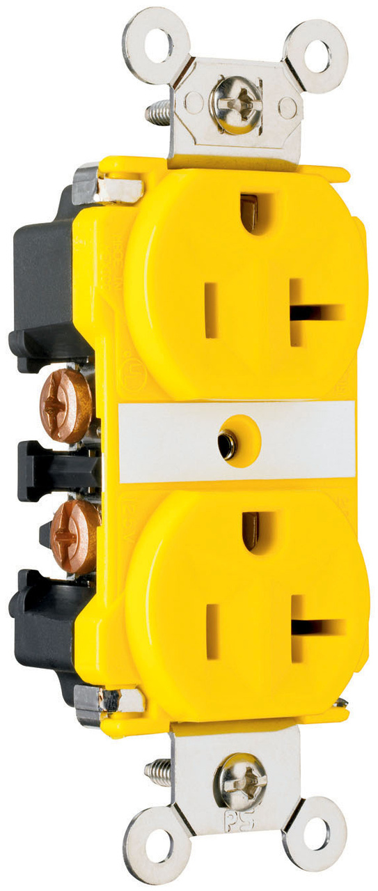 Industrial Extra Heavy-Duty Spec Grade Receptacles, Corrosion-Resistant, Back & Side Wire, 20A, 125V, Yellow