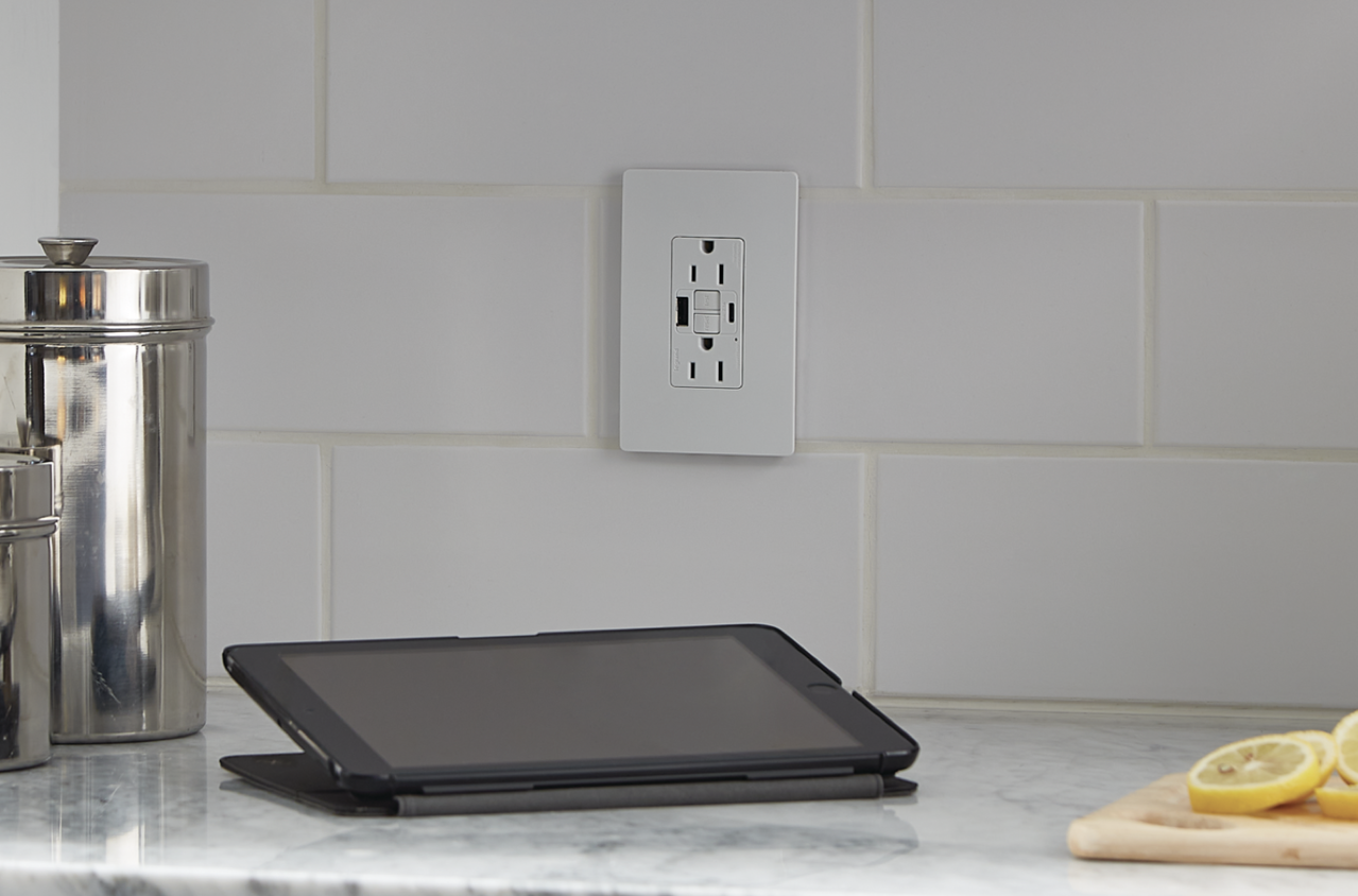 radiant Collection GFCI USB outlet installed above kitchen counter