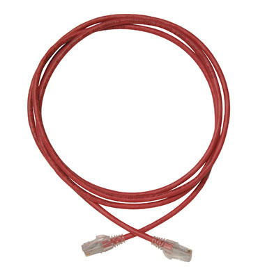Modular patch cord, Cat 6, four-pair, AWG stranded, PVC, red, sold in packages of 10.