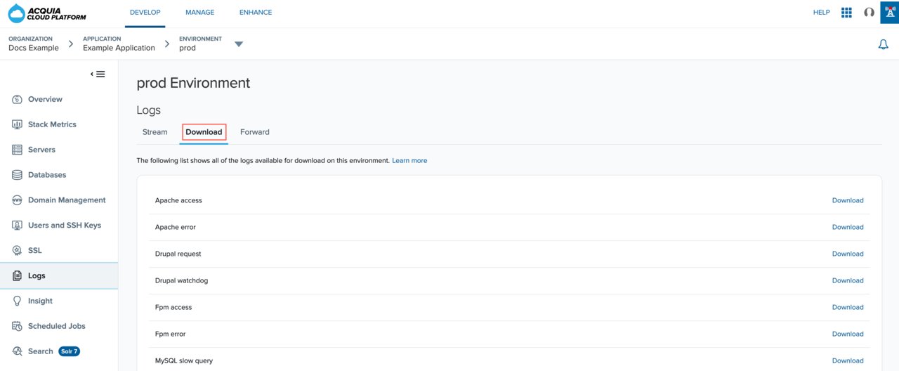 Downloading logs from the Logs page