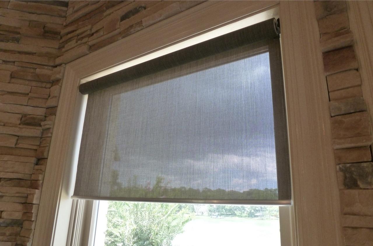Dark Manual Shades on a window