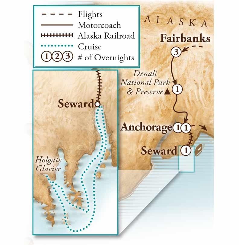 Tour Map for Alaska Agriculture & Kenai Fjords