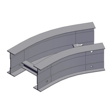 Cable tray 3D rendering of metallic horizontal fitting elbow 30 degree section