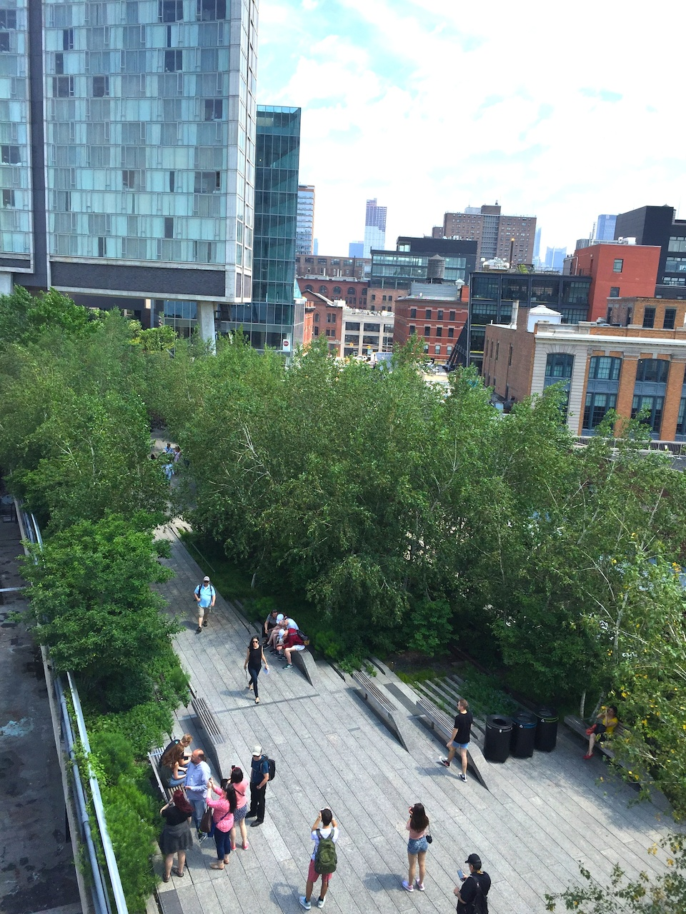 The balcony at the new Whitney Museum of Art affords a good view of The High Line, a paved walking trail on the west side of Manhattan.