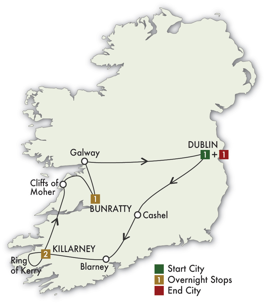 CIE Tours Tour Map  - 2021 - 6 Day Taste Of Ireland - Tour D