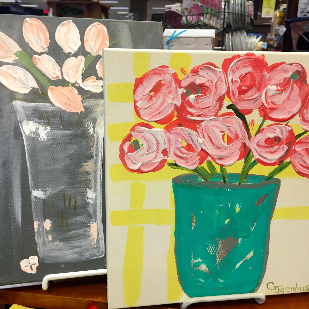 9-by-12-inch painting of pink tulips, $30; 10-inch square multi-colored bunch, $49, from Booksellers at Laurelwood