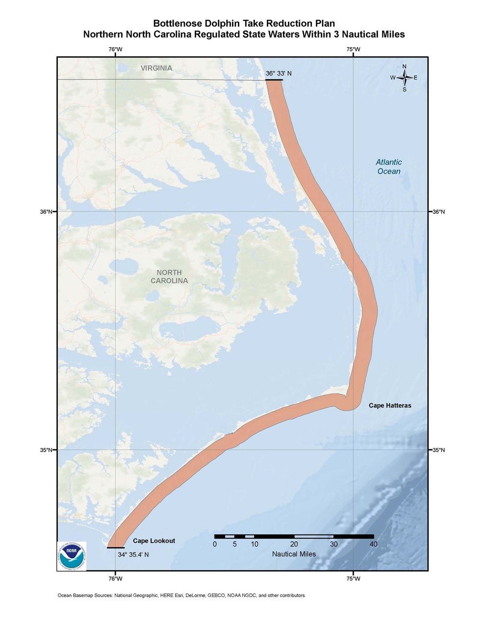 This is a map of the Bottlenose Dolphin Take Reduction Plan for northern North Carolina.