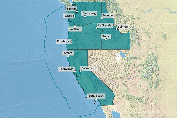 Map of the West Coast Region showing office locations