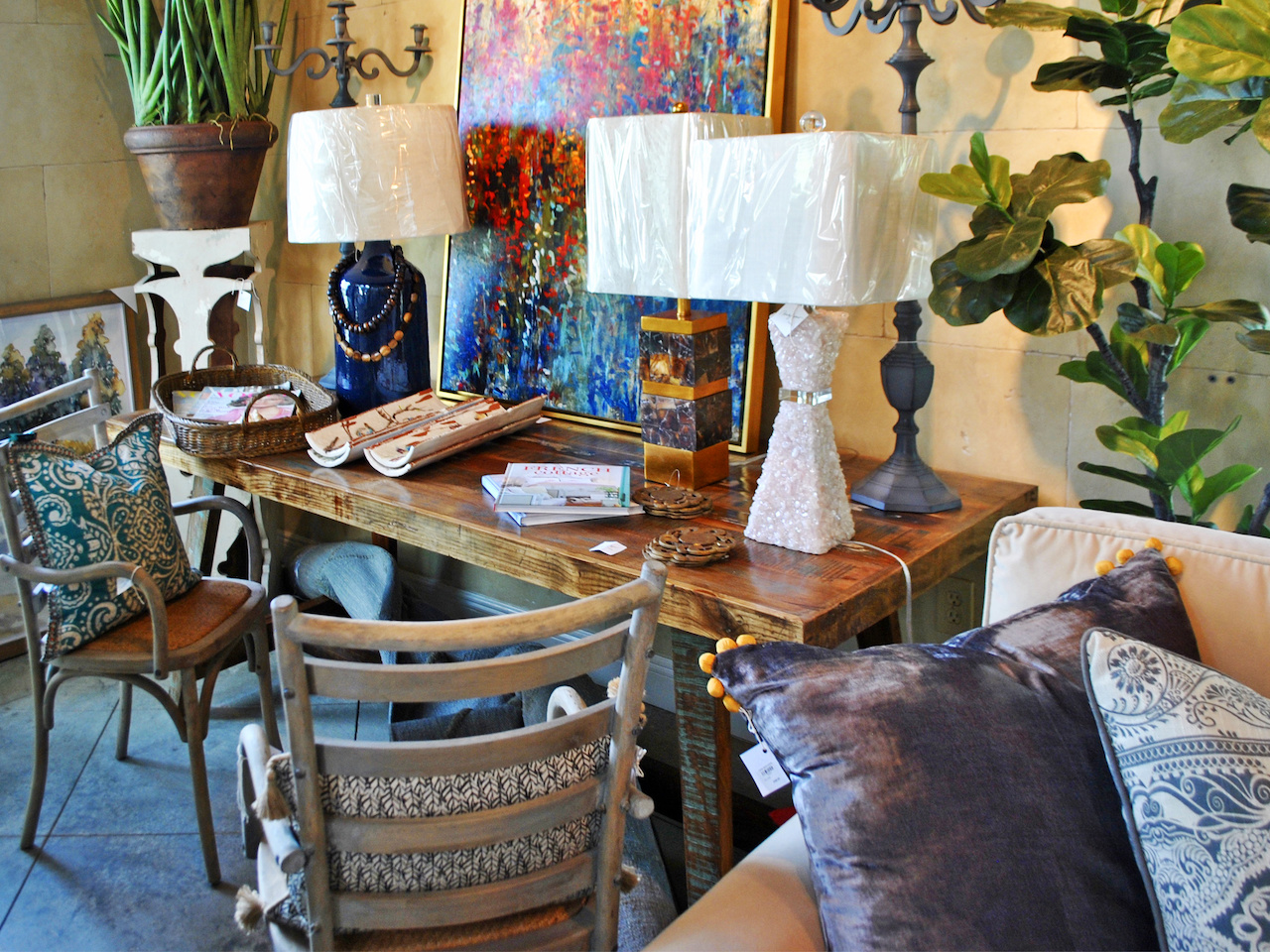 Lamps, pillows, art, candelabras, furniture and accessories abound in Pandy Agnew's showroom!