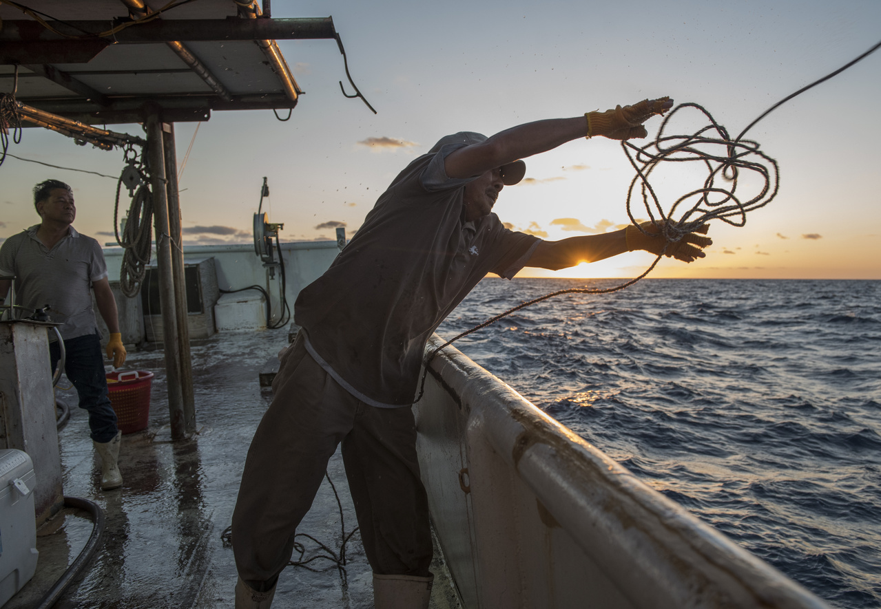 A fisherman on the F/V Queensland throws a line overboard to retrieve buoy gear.
