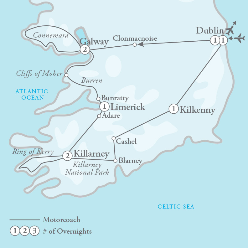 Tour Map for Enchanting Ireland