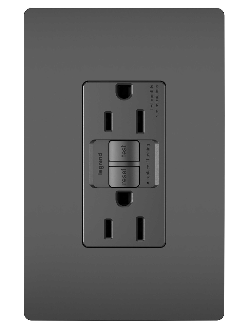 Radiant Spec Grade Dead Front 20a Self Test Gfci Receptacle Black Home Wiring Outlets Per Circuit 1597bk P