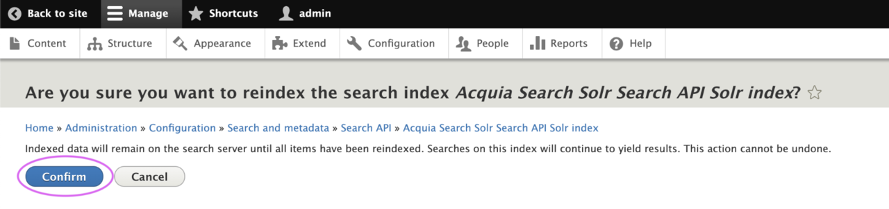 Are you sure you want to reindex the index confirmation?