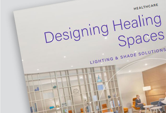 Screen grab of brochure showing how Legrand can assist with designing healing spaces.