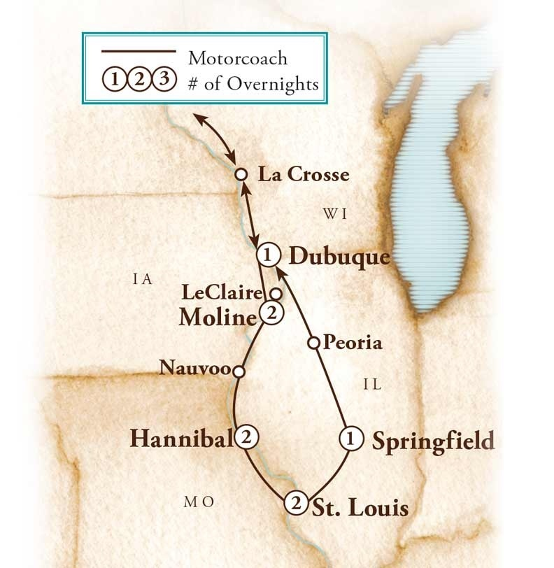 Tour Map for Mississippi River Road