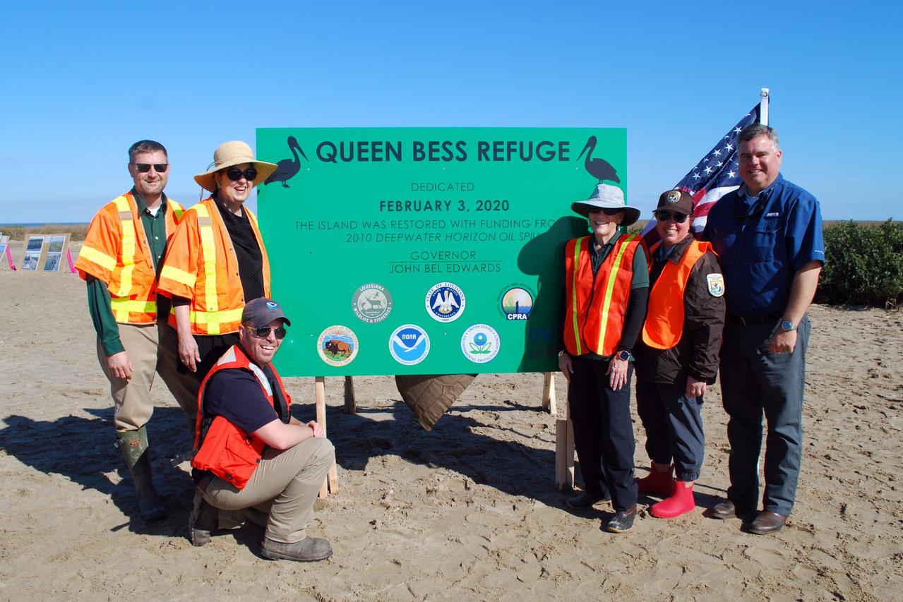 2020-02 Mel Landry NOAA DOI CPRA Partners on Restored Queen Bess Island.jpg