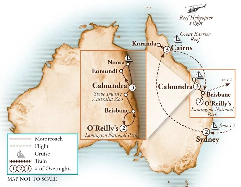 Tour Map for Wonders of Australia