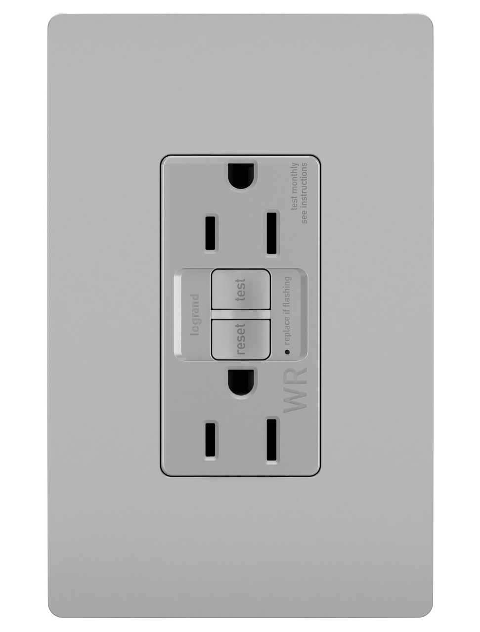 Spec-Grade Weather-Resistant 15A Self-Test Duplex GFCI, Gray