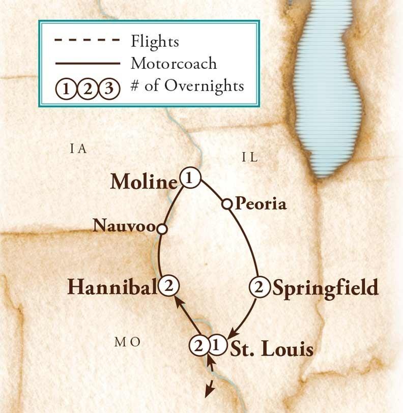 Tour Map for Mississippi River Rambler