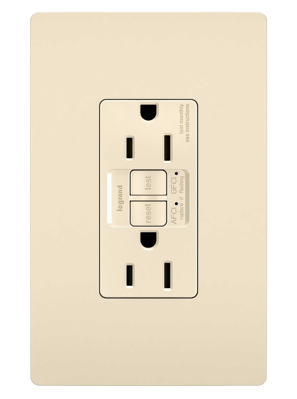 Dual Function Tamper-Resistant AFCI/GFCI Receptacle, Light Almond