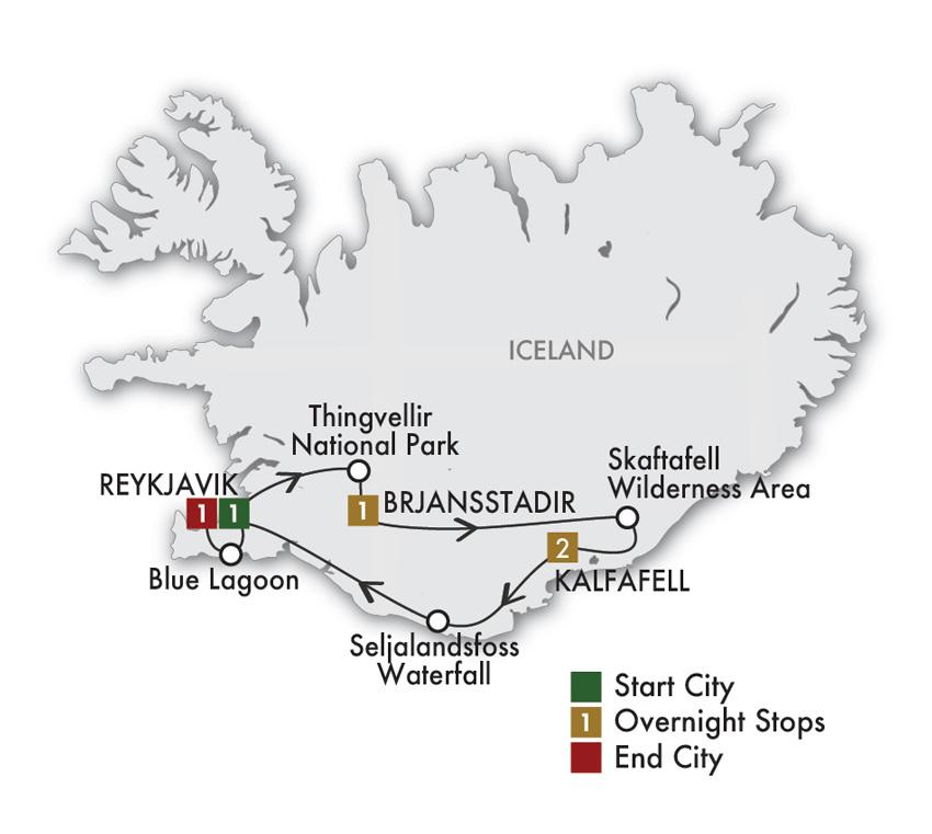 CIE Tours Tour Map  - 2021 - Taste of Iceland