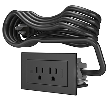 Furniture Power 2-Outlet Unit with 10' Cord - Black