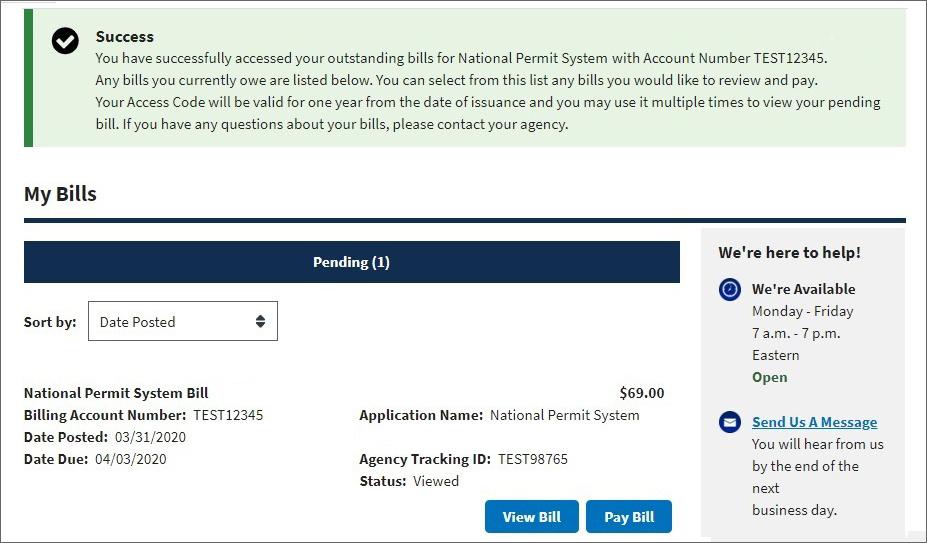 Pay.gov My Bill dashboard.