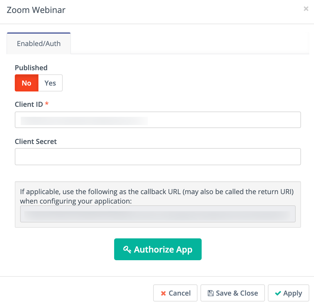 Campaign Studio Zoom enabled/auth page