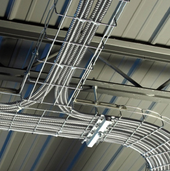 Wire mesh cable tray installed on ceiling