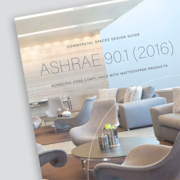Front page of the ASHRAE 90.1 2016 Design Guide from Wattstopper with sitting area showcased