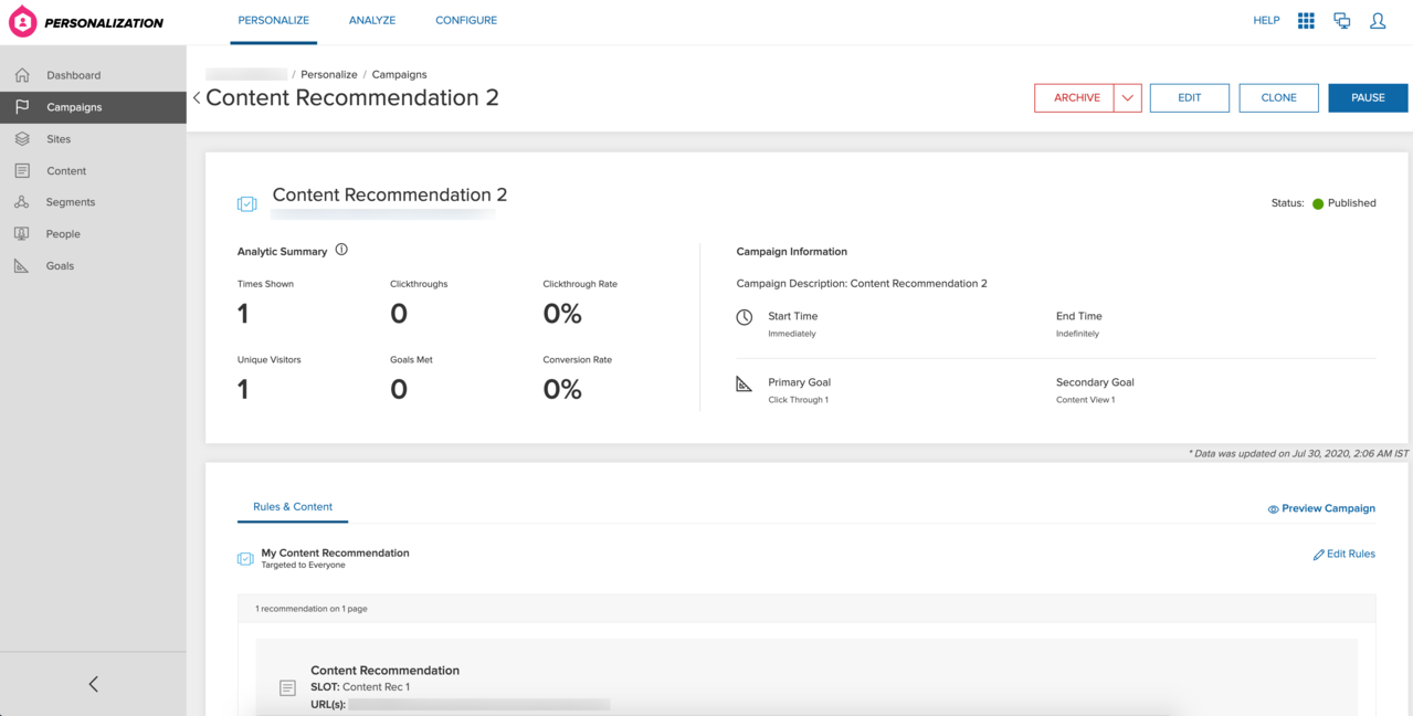 Analytics summary for content recomendation campaigns