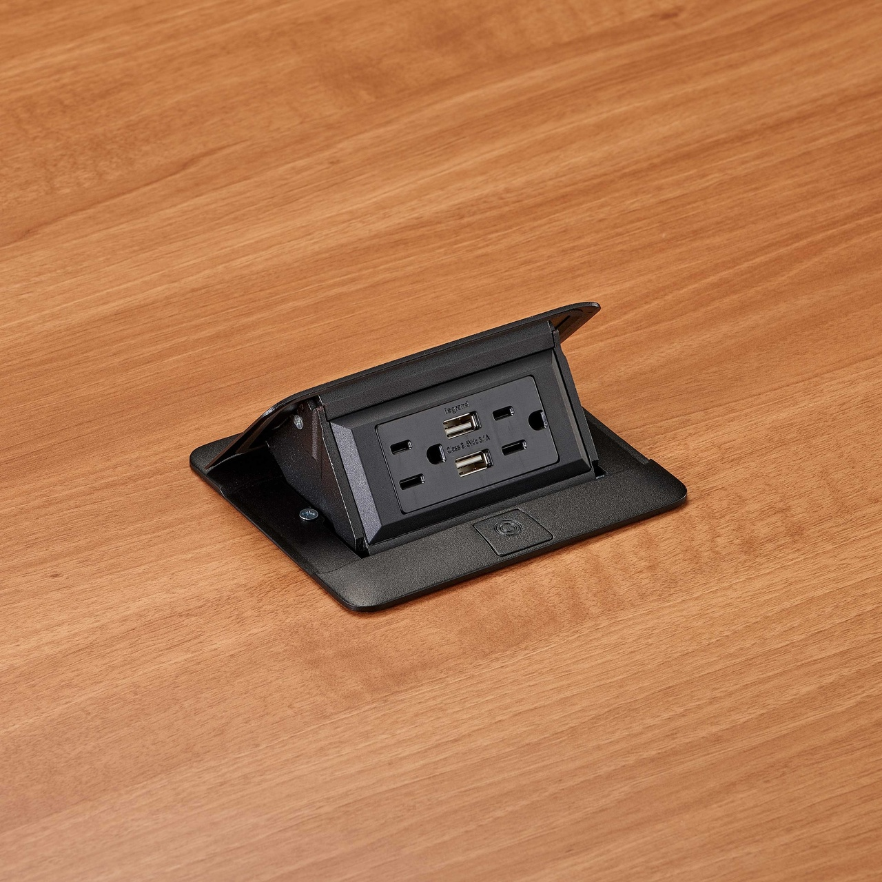 deQuorum Flip-Up Table Box 1-Gang 15A recep 3.1A USB, black finish-side view, DQFP15UBK