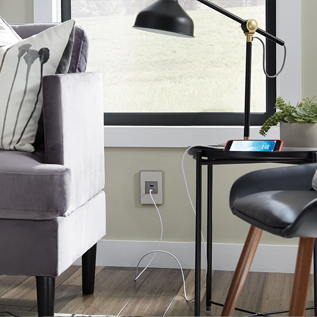 White USB Outlet by living room side table
