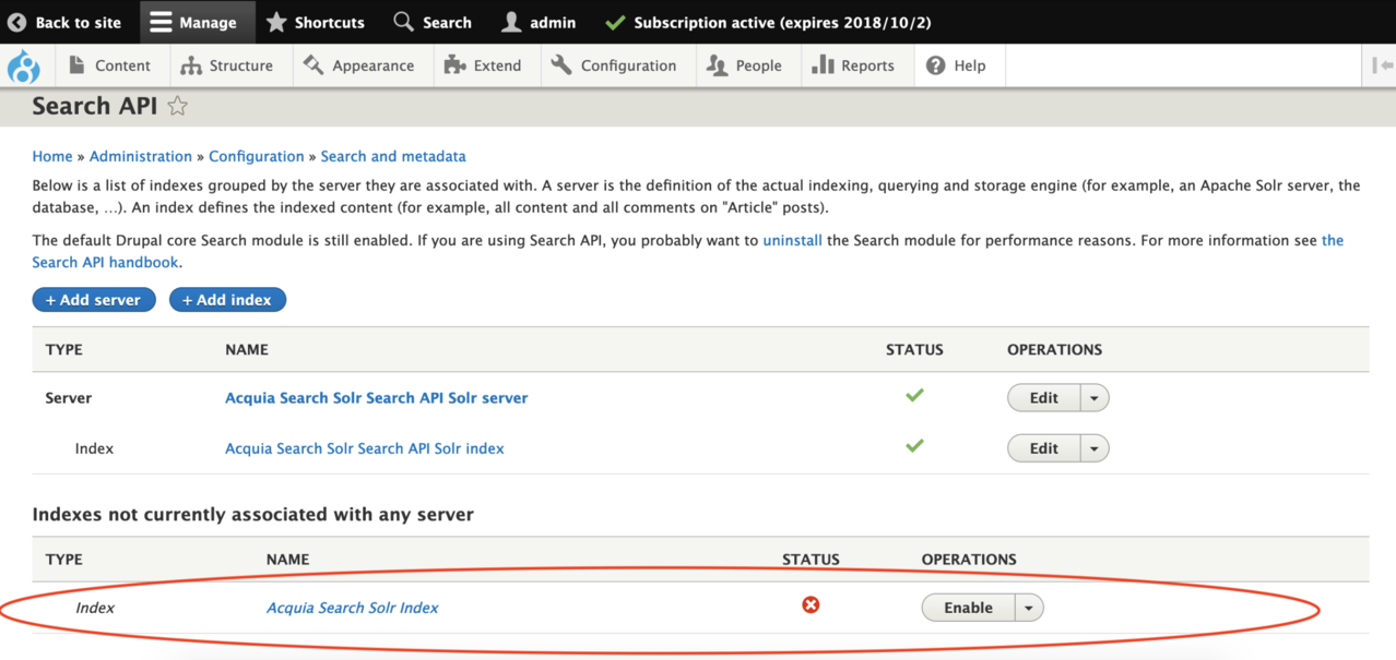 Move the Acquia Search Solr Index to the Acquia Search Solr Search API Solr server.