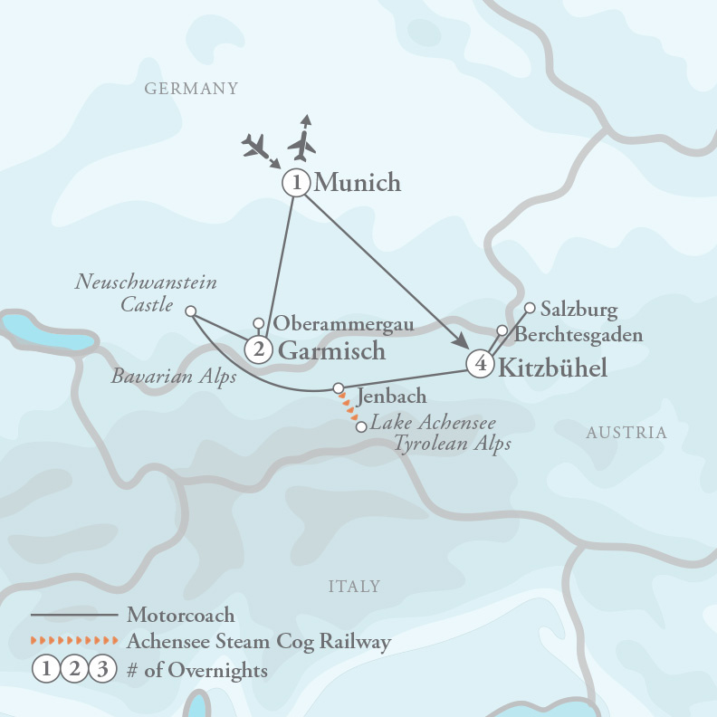 Tour Map for Oberammergau Passion Play & the Austrian Alps