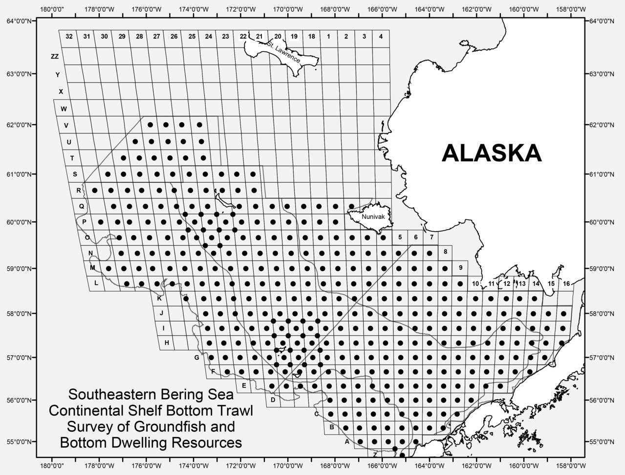 Southeastern Bering Sea Continental Shelf Bottom Trawl Survey of Groundfish and Bottom Dwelling Resources (map plot)