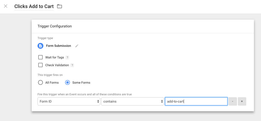 Google Tag Manager adding an add-to-cart trigger for form submissions