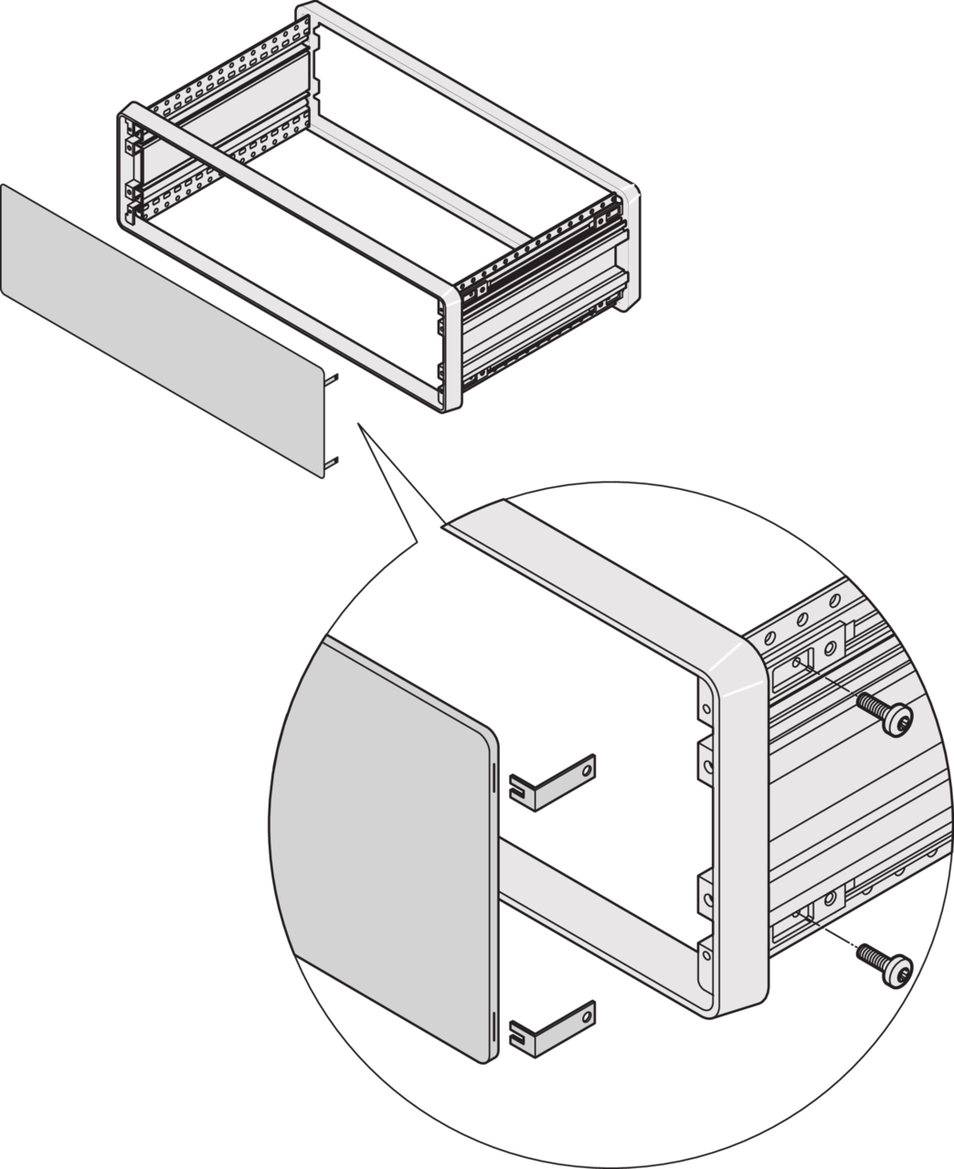 Imagen para Front panel and rear panel with hidden fixing (CompacPRO) de Schroff - Norteamérica
