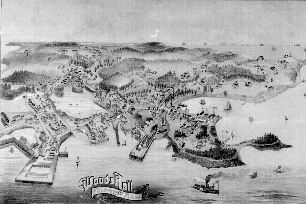 A street map of Woods Hole from 1887